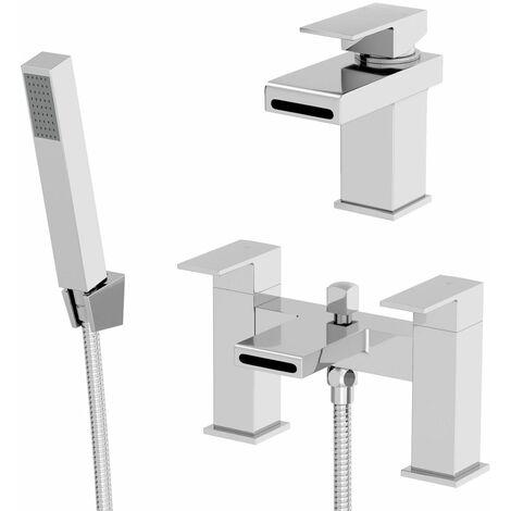 Modern Bathroom Square Chrome Basin Sink Mixer Bath Shower Head Mixer Tap Set