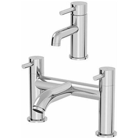 Modern Bathroom Basin Sink Taps Head Bath Filler Tap Set Pair Twin Chrome