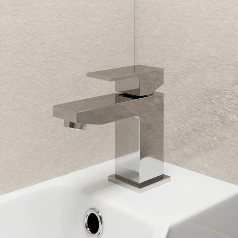 Modern Bathroom Square Mini Mono Basin Sink Mixer Tap Brass Lever Handle Chrome
