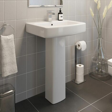 Modern Bathroom Square Basin Sink Full Pedestal Single Tap Hole White Ceramic