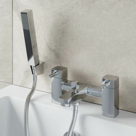 Modern Bathroom Bath Shower Mixer Tap Brass Square Shower Handset Hose Chrome