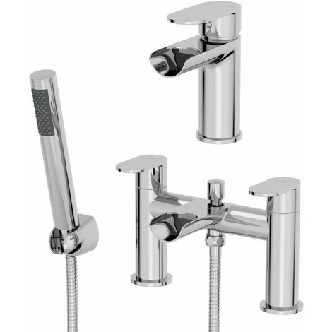 Bathroom Waterfall Mono Basin Sink Mixer Tap Bath Shower Mixer Tap Set Chrome