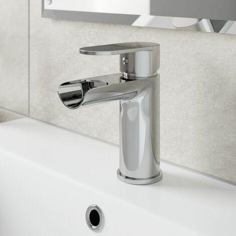Bathroom Waterfall Mono Basin Sink Mixer Tap Modern Round Lever Handle Chrome