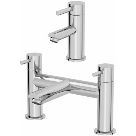 Modern Bathroom Basin Mono Mixer Tap Bath Filler Mixer Set Chrome Lever Modern