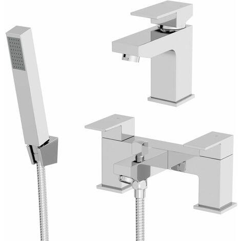 Modern Bathroom Square Mono Basin Sink Mixer Tap Bath Shower Head Filler Set