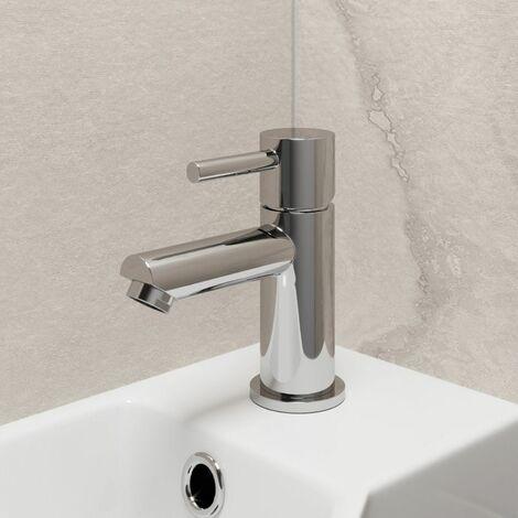Modern Cloakroom Mini Mono Basin Sink Mixer Tap Brass Single Lever Round Chrome
