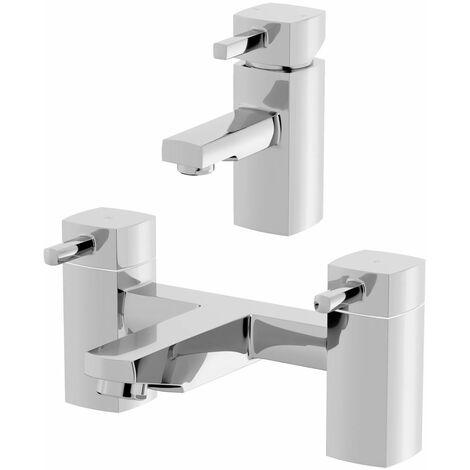 Bath Filler Chrome Spout Hot Basin Sink Lever Mixer Tap Mixer Taps Square Set
