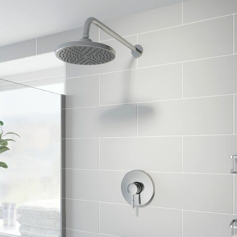 Concealed Stick Shower Wall Mounted Fixed Head Chrome Round Pivot Drencher