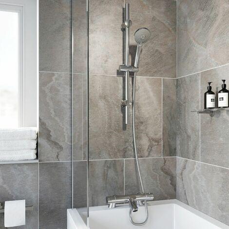 Bathroom Luxury Chrome Thermostatic Bath Shower Mixer Valve Single Head Riser