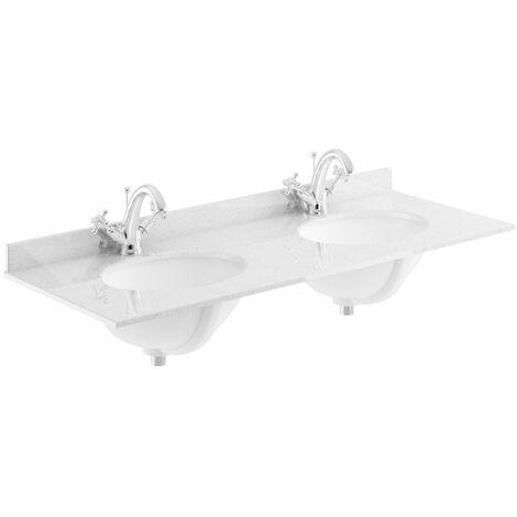Bayswater White Double Bowl Countertop 1200mm 2 Tap Hole Undermount Basin