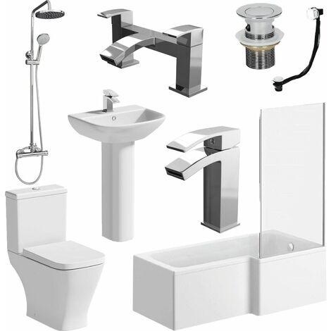 Bathroom Suite L Shaped RH Bath Panel Screen & Rail Basin Toilet Shower Taps Set
