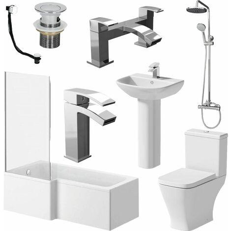 Bathroom Suite L Shaped LH Bath Panel Screen & Rail Basin Toilet Shower Taps Set