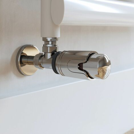 Duratherm Angled Polished Chrome Thermostatic Radiator Valve 15mm TRV Rad