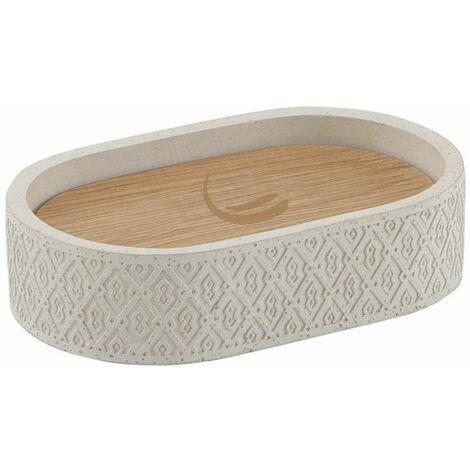 Bathroom Soap Dish Holder Stand Accessory Freestanding Stone Warm Grey Concrete