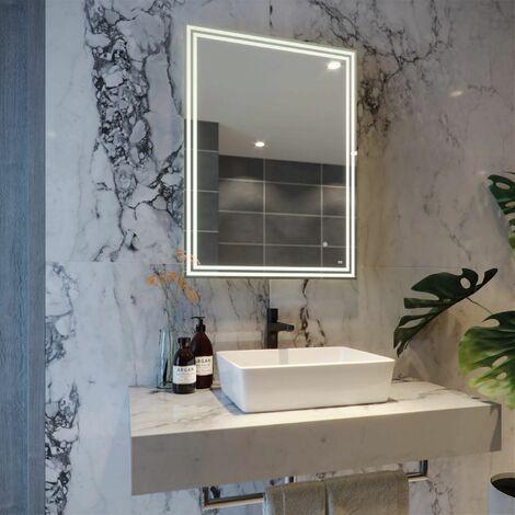RAK Hermes LED Bathroom Mirror Demister Anti-fog Shaver Socket IP44 800 x 600mm