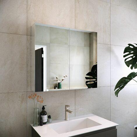 RAK Gemini Bathroom Mirror Cabinet Cupboard Double Door Aluminium 700 x 800mm