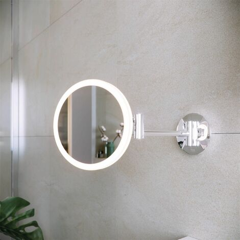 RAK Demeter LED Bathroom Shaving Mirror Magnifier Round Wall Mounted 200 x 200mm