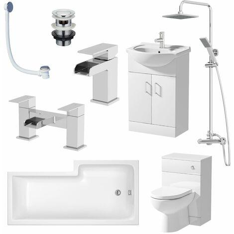 Complete Bathroom Suite LH L Shaped Bath Vanity Unit BTW Toilet Basin Tap Set