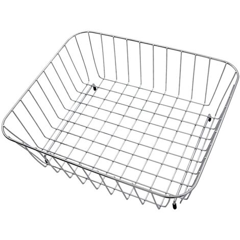 Modern Reginox Grey Wire Mesh Rectangle Metal Basket Accessory Stainless Steel