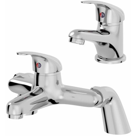 Bathroom Basin Sink Monobloc Mixer Tap Bath Filler Mixer Tap Chrome Single Lever