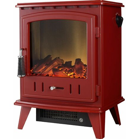 Adam Aviemore Freestanding Stove Fire Heater Heating Real Log Effect Flame Red