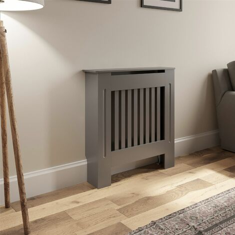 Radiator Cover Wall Cabinet X Small MDF Wood Grey Vertical Style Modern Pre Cut