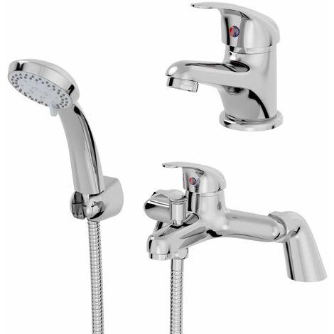 Bathroom Basin Sink Monobloc Mixer Tap Bath Shower Mixer Tap Chrome Single Lever