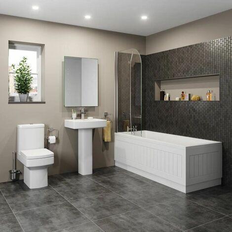 Bathroom Suite Toilet Basin Sink Full Pedestal 1700 mm Single Ended Bath Modern