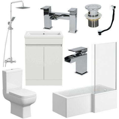 Bathroom Suite Complete RH 1600mm Bath Single Ended Basin Sink Taps Toilet WC