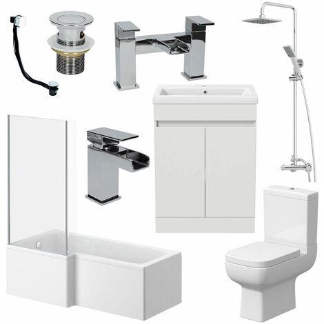 Complete Bathroom Suite Left 1500mm Bath Single Ended Toilet WC Basin Sink Taps