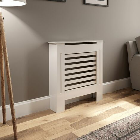 Radiator Cover Wall Cabinet X Small MDF Wood White Horizontal Style Modern