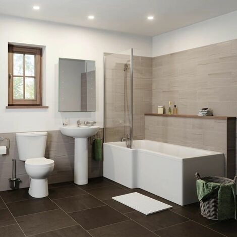 Bathroom Suite 1500mm L Shaped LH Showerbath Screen Toilet Basin Pedestal
