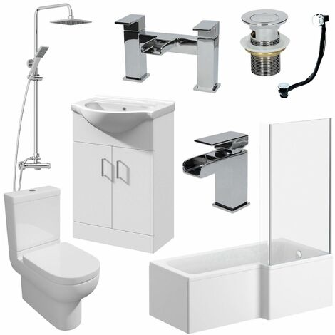 1600mm RH L Shaped Bathroom Suite Bath Screen Basin Toilet Shower Taps Waste