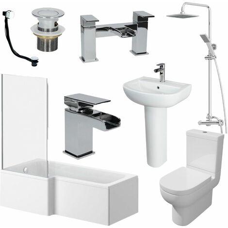 1700mm Bathroom Suite LH L Shaped Bath Screen Basin Toilet Shower Taps Waste