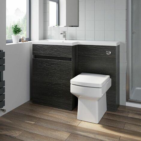 Bathroom Vanity Unit Basin 1100 mm Toilet Combined Furniture Left Hand Charcoal