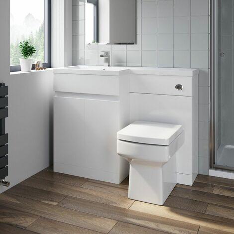 Bathroom Vanity Unit Basin Sink 1100mm Toilet Combined Furniture Left Hand White