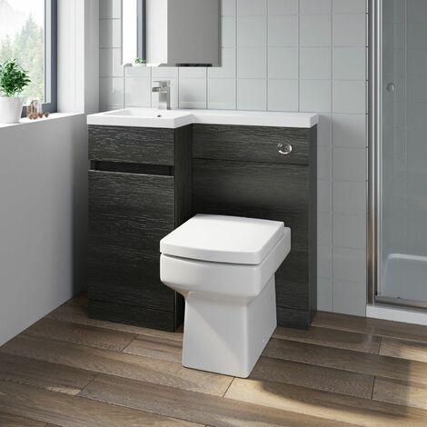 Bathroom Vanity Unit Basin 900 mm Toilet Combined Furniture Left Hand Charcoal