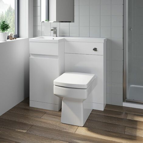 Bathroom Vanity Unit Basin Sink 900mm Toilet Combined Furniture Left Hand White