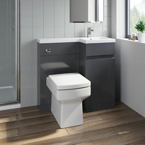 Bathroom Vanity Unit Basin Sink 900mm Toilet Combined Furniture Right Hand Grey