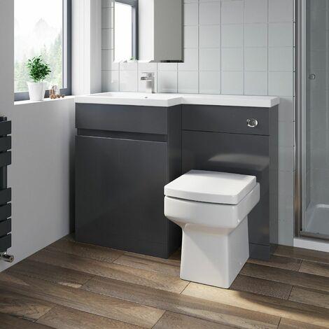 Bathroom Vanity Unit Basin Sink 1100mm Toilet Combined Furniture Left Hand Grey