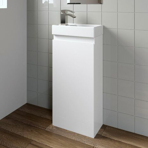 Gloss White Floor Standing 400mm Slim Vanity Unit Basin Sink Cloakroom Bathroom