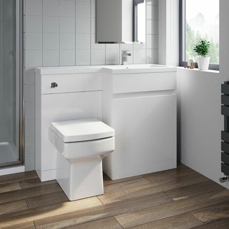 Bathroom Vanity Unit Basin 1100 mm Toilet Combined Furniture Right Hand RH White