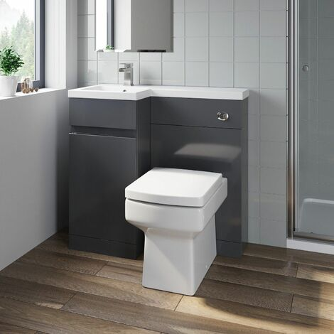 Bathroom Vanity Unit Basin Sink 900mm Toilet Combined Furniture Left Hand Grey