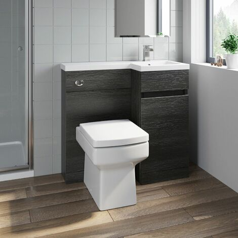 Bathroom Vanity Unit Basin 900mm Toilet Combined Furniture Right Hand Charcoal
