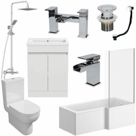 1700mm RH L Shaped Bathroom Suite Bath Screen Shower Basin Taps Toilet Waste
