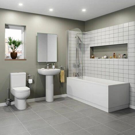 Bathroom Suite 1700 Double Ended Bath Close Coupled Toilet Basin Pedestal White