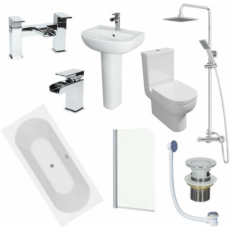 1800mm Bathroom Suite Double Ended Bath Shower Screen Toilet Basin Taps Waste