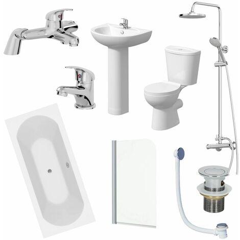 Bathroom Suite 1700mm Double Ended Bath Toilet Basin Pedestal Taps Shower Waste