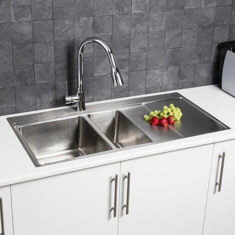 Modern Kitchen Sink 1.5 Bowl Stainless Steel Inset RH Drainer + FREE Wastes