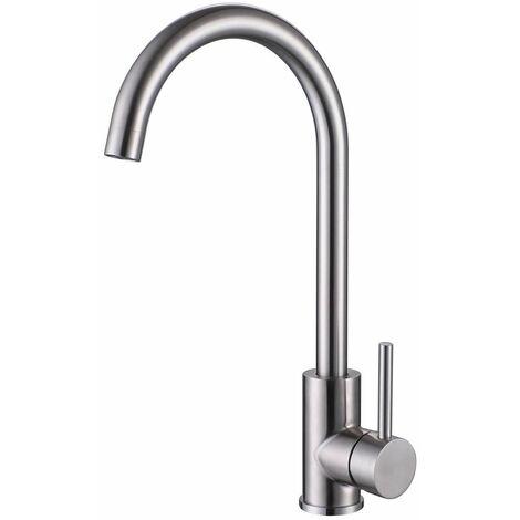 Reginox Mino Kitchen Sink Tap Brushed Nickel Swivel Spout Mixer Tap Single Lever